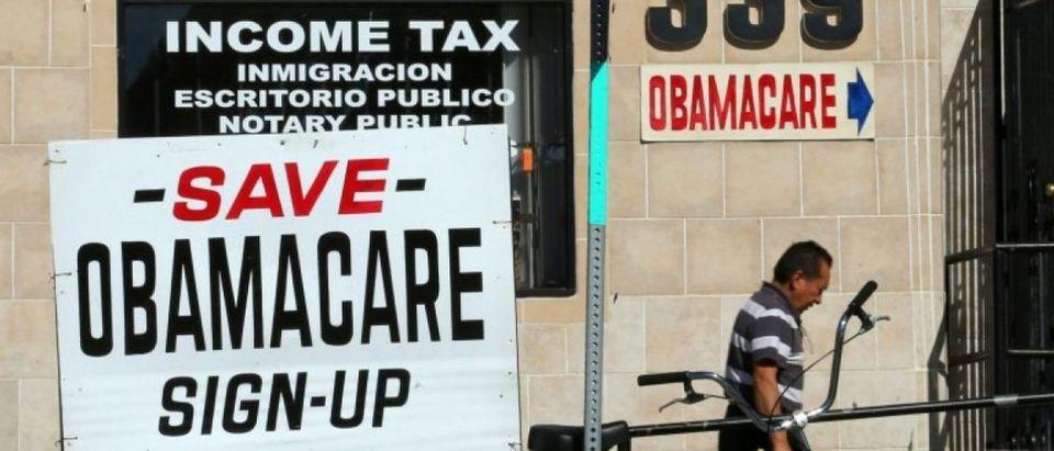 An insurance store advertises Obamacare in San Ysidro, California, U.S., January 25, 2017. REUTERS/Mike Blake
