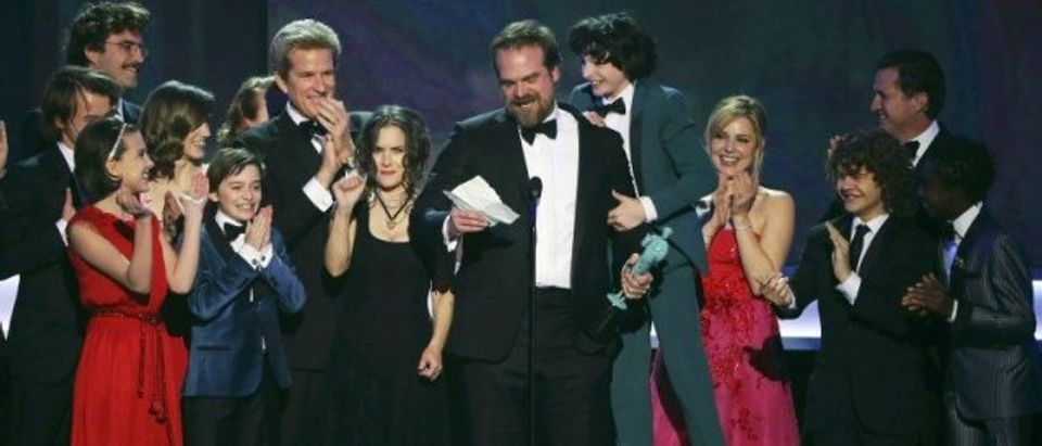 The cast of Stranger Things accepts their award during the 23rd Screen Actors Guild Awards in Los Angeles
