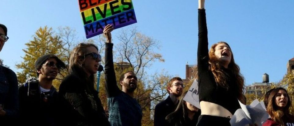 Students of NYU protest against President-elect Donald Trump in Manhattan, New York