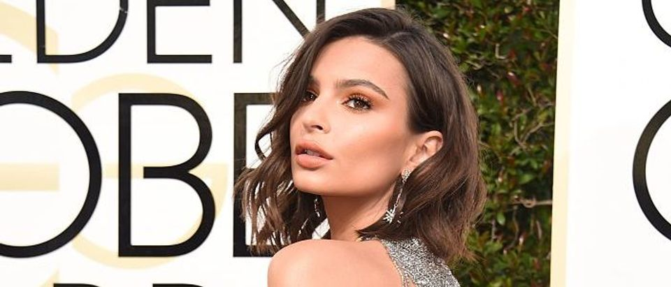 Emily Ratajkowski arrives at the 74th annual Golden Globe Awards, January 8, 2017, at the Beverly Hilton Hotel in Beverly Hills, California. (Photo credit: VALERIE MACON/AFP/Getty Images)