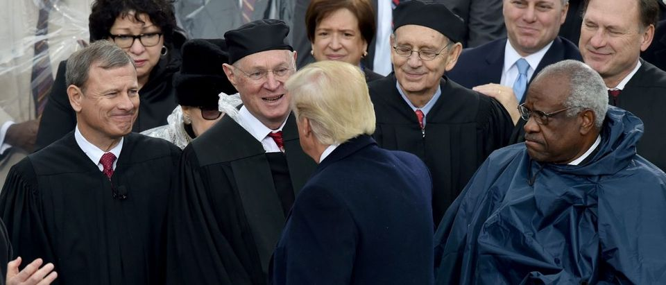 US President Donald Trump greets justices of the US Supreme Court during his inauguration ceremonies. Paul J. Richards/AFP/Getty Images.