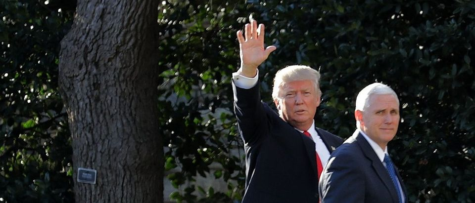 President Donald Trump and Vice President Mike Pence return to the White House after visiting the Department of Homeland Security. Chip Somodevilla/Getty Images.