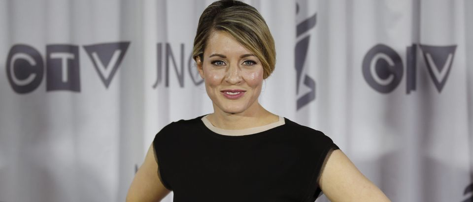 Canada's Heritage Minister Melanie Joly poses backstage after presenting an award at the 2016 Juno Awards in Calgary