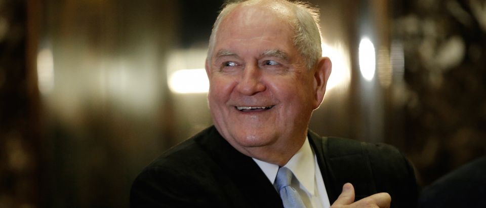 Former Georgia Governor Sonny Perdue arrives for a meeting with U.S. President-elect Donald Trump at Trump Tower in New York