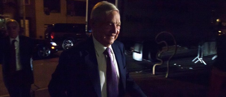Billionaire George Soros arrives at the Museum of Modern Art in New York