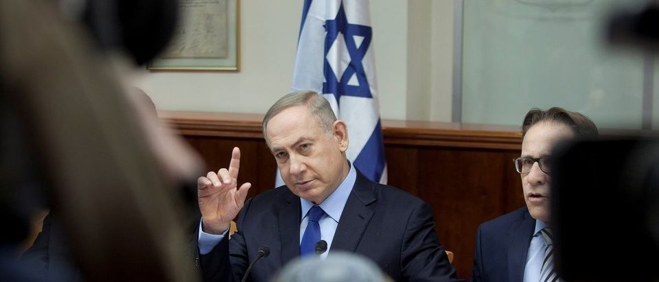 Israeli Prime Minister Benjamin Netanyahu attends the weekly cabinet meeting at his Jerusalem