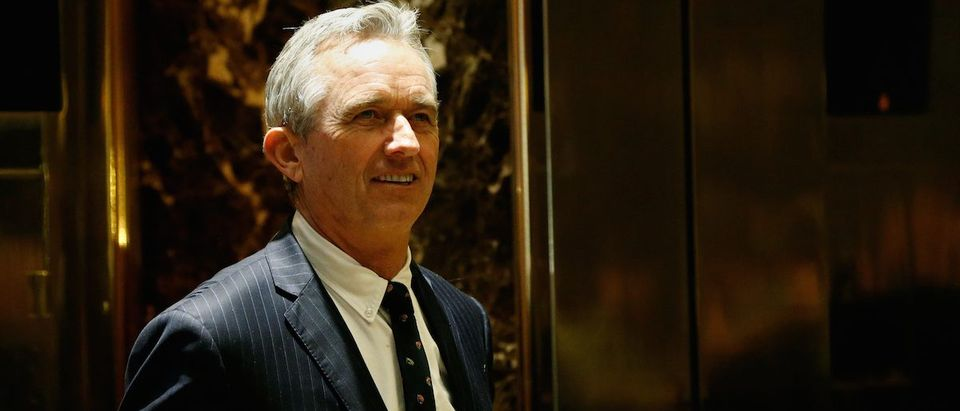 Robert F. Kennedy Jr. gestures stands in the lobby of Trump Tower in Manhattan, New York