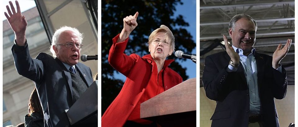 Bernie Sanders, Elizabeth Warren, Tim Kaine (Getty Images)