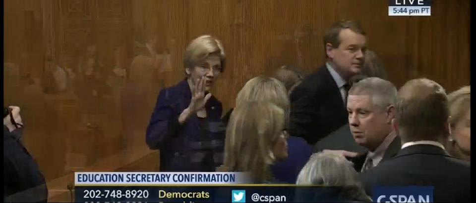 Sen. Liz Warren at Devos Confirmation Hearing (CSPAN Screen Shot)