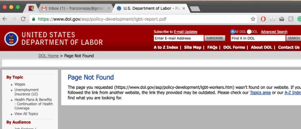 Dept. Of Labor Website Screen Shot