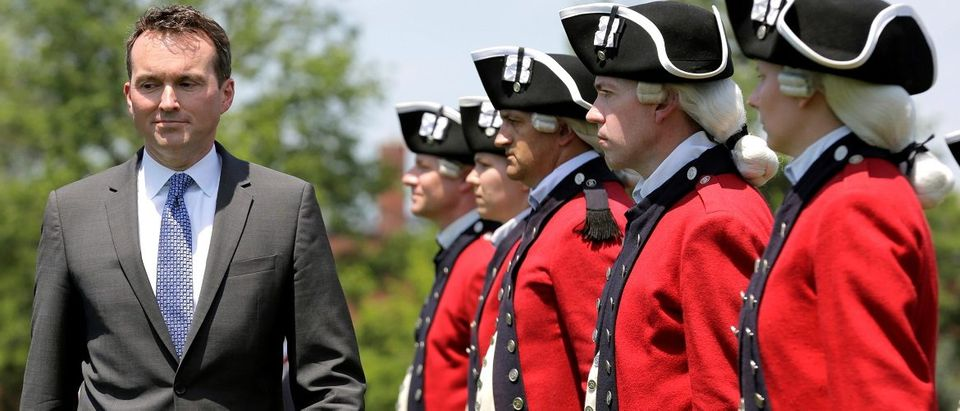 Eric Fanning, the incoming 22nd Secretary of the Army, reviews the Fife and Drum Corps during his full honor arrival ceremony at Fort Myers in Arlington, Virginia2