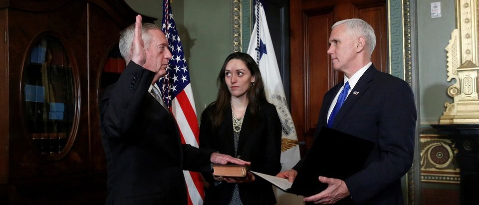 Pence swears in Mattis to be Secretary of Defense in Washington