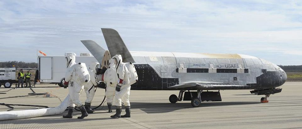 Handout photo shows the X-37B Orbital Test Vehicle mission 3 space plane after landing at Vandenberg Air Force Base in California