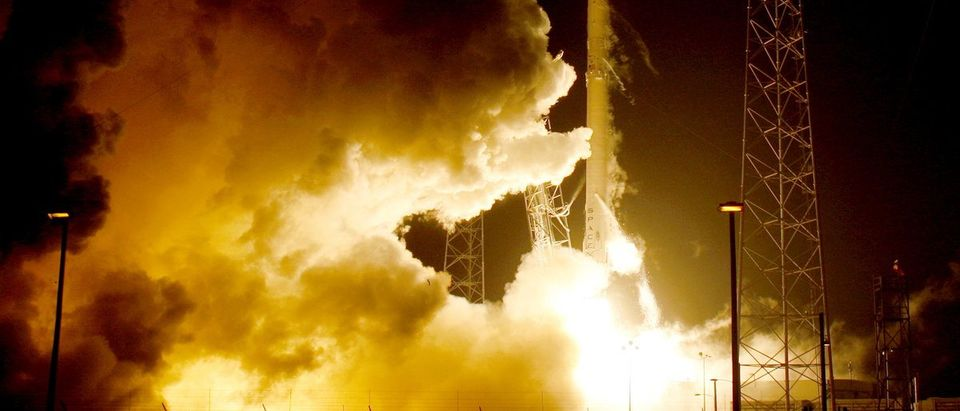 A remodeled version of the SpaceX Falcon 9 rocket lifts off at the Cape Canaveral Air Force in Cape Canaveral