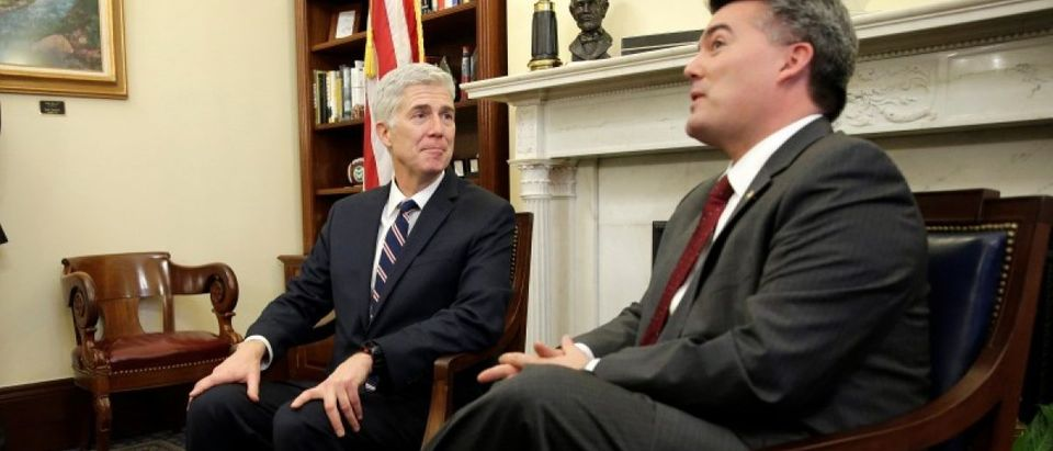 Supreme Court Nominee Judge Neil Gorsuch meets with Senator Cory Gardner (R-CO) on Capitol Hill in Washington.