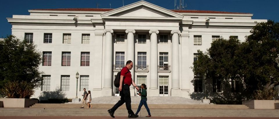 FILE PHOTO - Pedestrians pass Sproul Hall, the University of California at Berkeley's administration building, in Berkeley