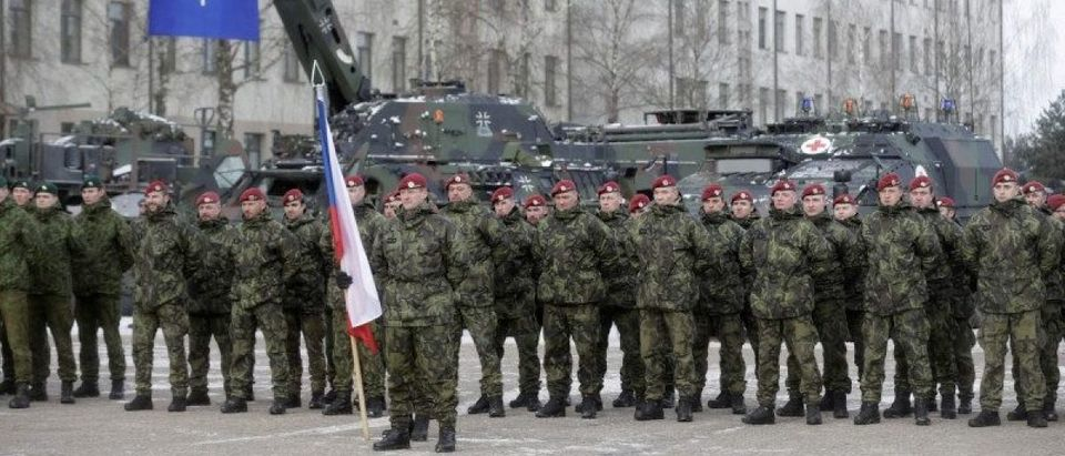Netherlands' soldiers attend a ceremony to welcome the German battalion being deployed to Lithuania as part of NATO deterrence measures against Russia in Rukla