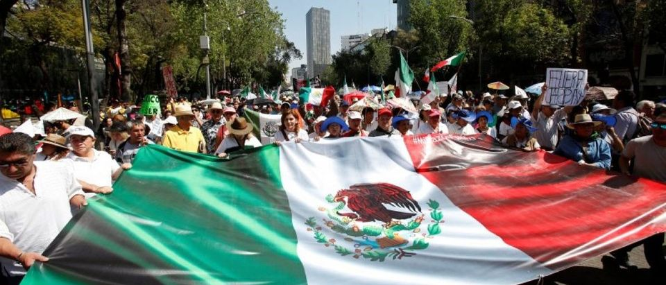 Demonstrators hold a banner with an image of the Mexican flag during a march to protest against U.S. President Donald Trump's proposed border wall, and to call for unity, in Mexico City, Mexico