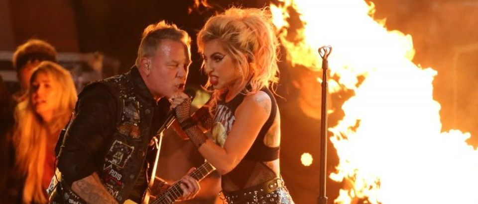 "Metallica's James Hetfield and Lady Gaga perform ""Moth into Flame"" at the 59th Annual Grammy Awards in Los Angeles"
