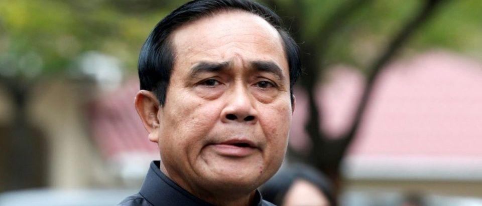 Thailand's Prime Minister Prayuth Chan-ocha arrives at a weekly cabinet meeting at the Government House in Bangkok