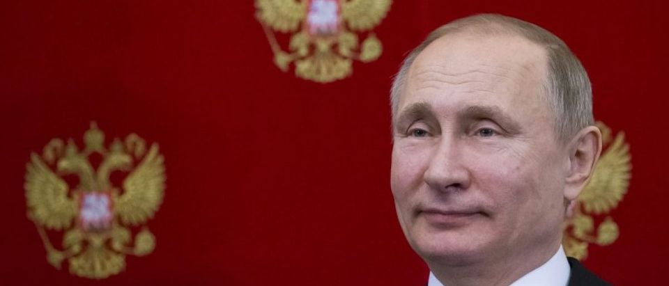 Russian President Putin attends a signing ceremony following the talks with his Slovenian counterpart Pahor in Moscow