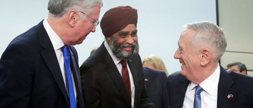 British Defence Secretary Fallon, Canada's Defence Minister Sajjan and U.S. Defense Secretary Mattis attend a NATO defence ministers meeting in Brussels