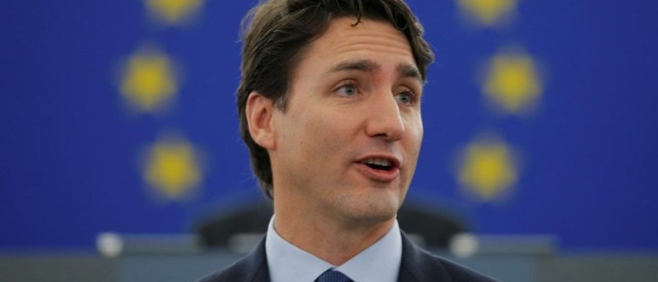 Canada's Prime Minister Trudeau adresses the European Parliament in Strasbourg