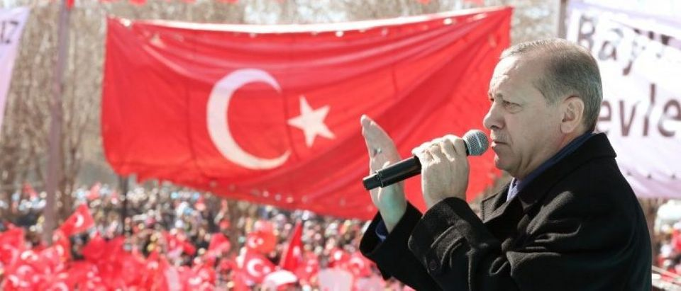 Turkish President Erdogan makes a speech during an opening ceremony in the southeastern city of Gaziantep