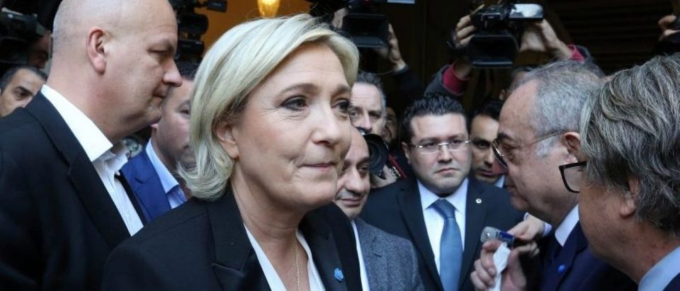 Marine Le Pen, French National Front (FN) political party leader and candidate for French 2017 presidential election, rejects a headscarf for her meeting Lebanon's Grand Mufti Sheikh Abed el-Lateef Daryan in Beirut, Lebanon