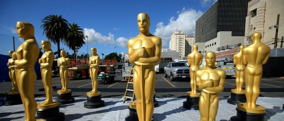 Oscar statues wait for a fresh coat of gold paint as preparations begin for the 89th Academy Awards in Hollywood