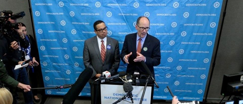 Newly elected Assistant Democratic National Chair, Keith Ellison (L) and newly elected Democratic National Chair, Tom Perez speak with the press during the Democratic National Committee winter meeting in Atlanta, Georgia. February 25, 2017. REUTERS/Chris Berry