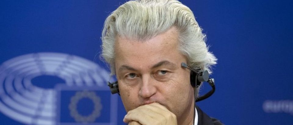 FILE PHOTO: Dutch far-right Party for Freedom (PVV) leader Geert Wilders attends a joint news conference at the European Parliament in Brussels