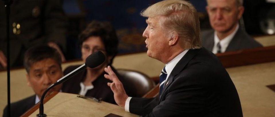 U.S. President Donald Trump addresses Joint Session of Congress - Washington, U.S. - 28/02/17 - U.S. President Donald Trump addresses the U.S. Congress. REUTERS/Kevin Lamarque
