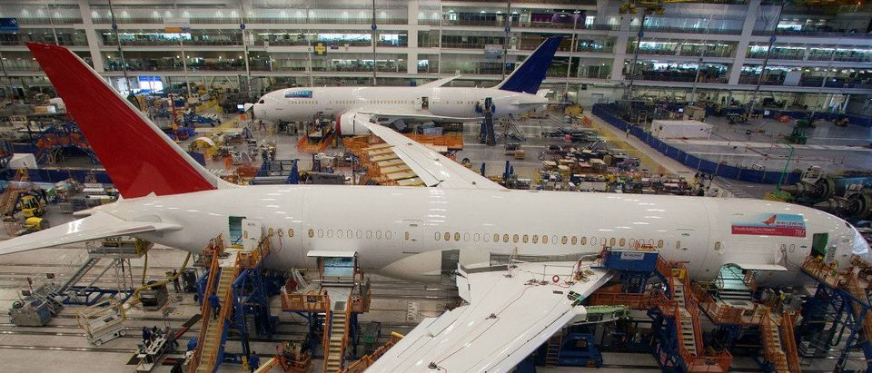 Workers at South Carolina Boeing work on a 787 Dreamliner for Air India at the plant's final assembly building in North Charleston, South Carolina December 19, 2013. REUTERS/Randall Hill/File Photo