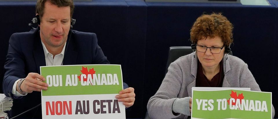French politician Jadot, green party EELV candidate for the 2017 French presidential election and MEP waits start of voting session on the CETA between the EU and Canada, at the European Parliament in Strasbourg