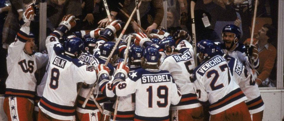 "Team USA celebrates ""the Miracle on Ice"""