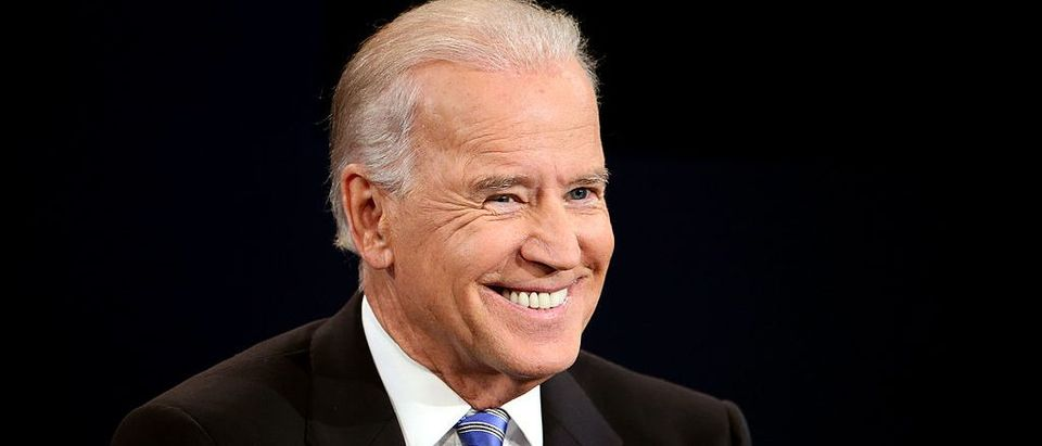 Vice President Joe Biden smiles during the vice presidential debate at Centre College October 11, 2012 in Danville, Kentucky. (Photo by Chip Somodevilla/Getty Images)