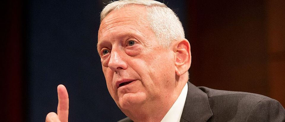 """Retired Marine Corps Gen. James """"Jim"""" Mattis, former commander of the U.S. Central Command testifies before the House (Select) Intelligence Committee on """"Threats Posed by ISIL (Islamic State of Iraq and the Levant), AQ (al Qaeda), and Other Islamic Extremists"""" on Capitol Hill in Washington D.C., September 18, 2014. (Photo by Allison Shelley/Getty Images)"""
