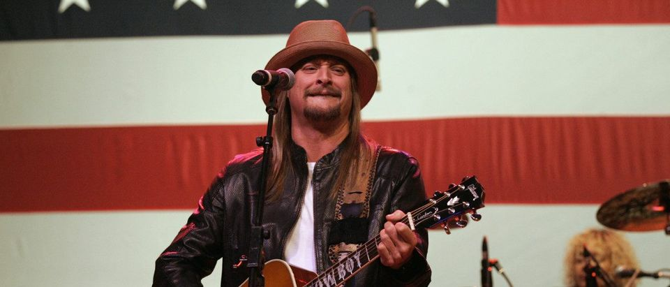Musician Kid Rock performs during a campaign stop for U.S. Republican presidential candidate Mitt Romney in Royal Oak, Michigan February 27, 2012. REUTERS/Rebecca Cook