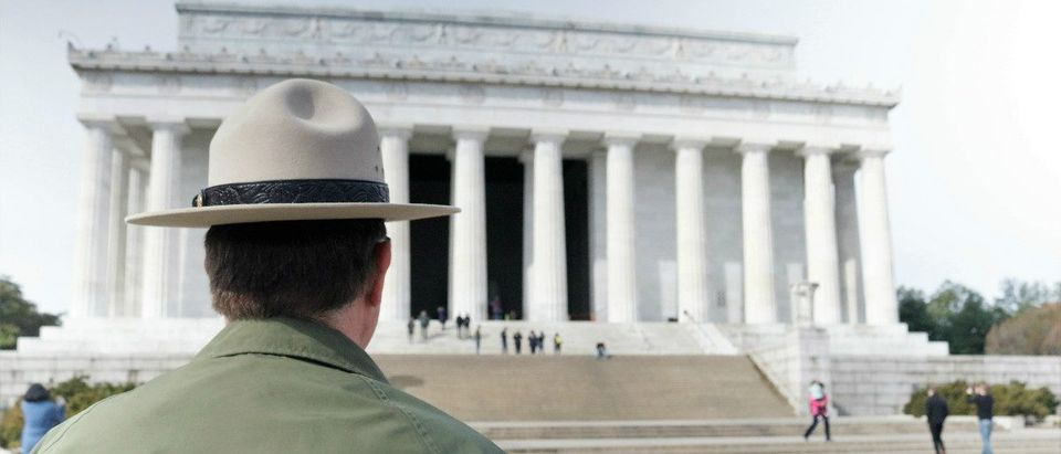 National Park Service official looks towards Lincoln Memorial in Washington, D.C. Feb. 21, 2017 Ted GoodmanTheDCNF
