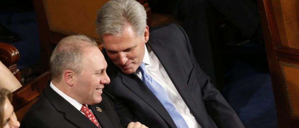 U.S. House of Representatives Majority Whip Scalise and House Majority Leader McCarthy talk as U.S. President Obama delivers his State of the Union address to a joint session of the U.S. Congress on Capitol Hill in Washington
