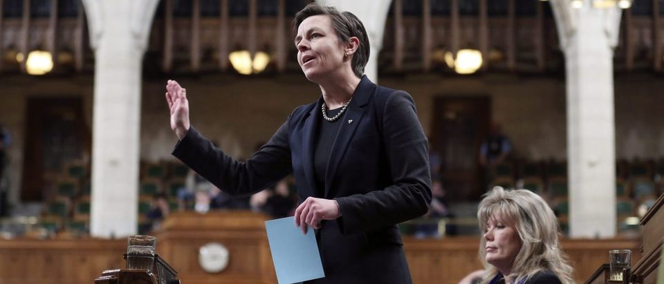 Canada's then-Labour Minister Leitch speaks in the House of Commons in Ottawa