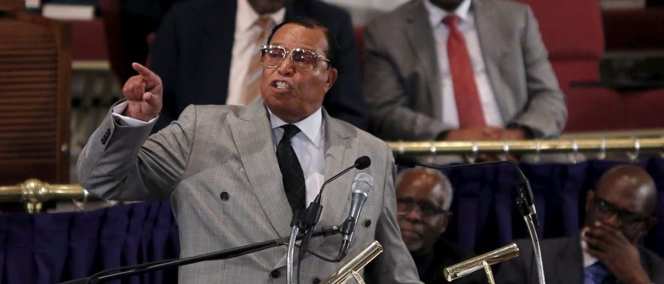 Nation of Islam leader Louis Farrakhan addresses the audience at the metropolitan African Methodist Episcopal Church in in Washington
