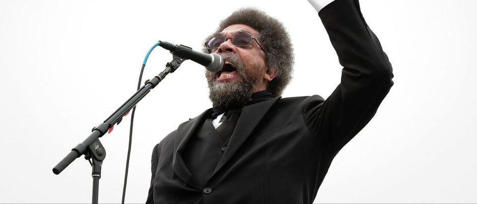 Cornel West speaks at a campaign rally for Democratic U.S. presidential candidate Bernie Sanders in San Francisco, California
