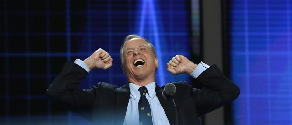 Former Vermont Governor Howard Dean raises his fists as he speaks at the Democratic National Convention in Philadelphia