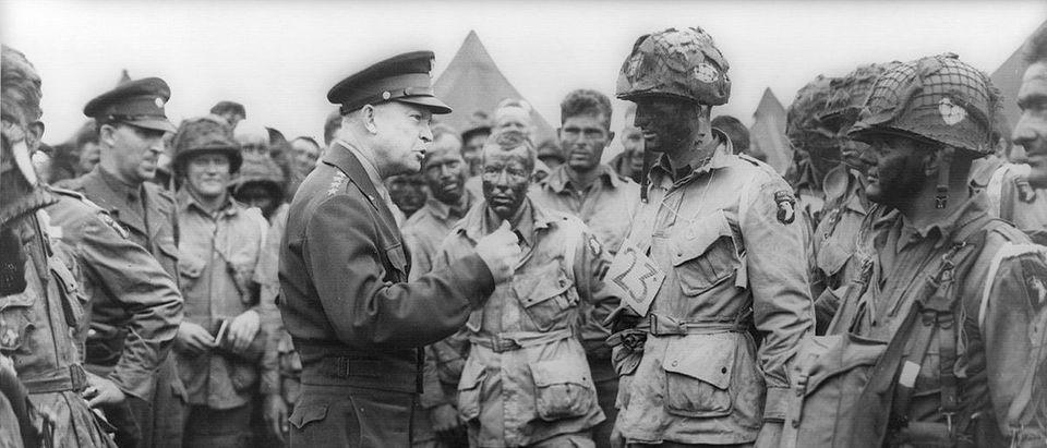Handout photo of Allied forces Supreme Commander General Eisenhower speaking with U.S. Army paratroopers at Greenham Common Airfield in England