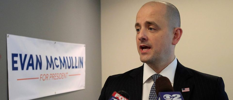 Third party candidate Evan McMullin, an independent, talks to the press as he campaigns in Salt Lake City
