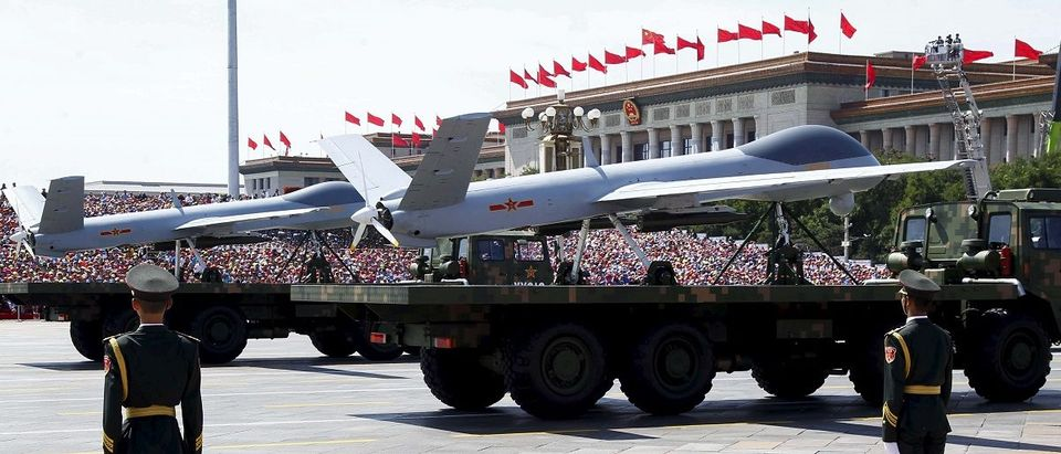 Chinese unmanned aerial vehicles are presented during the military parade marking the 70th anniversary of the end of World War Two, in Beijing