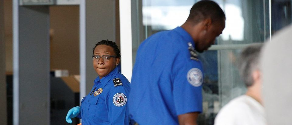 Transportation Security Administration (TSA) agents check-in passengers at JFK airport in the Queens borough of New York City
