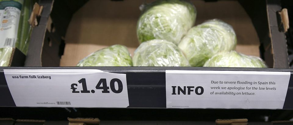 Iceberg lettuces are seen next to a sign explaining their short supply in a supermarket, in London